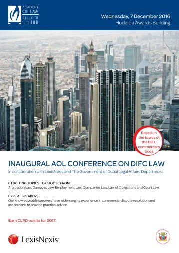 INAUGURAL AOL CONFERENCE ON DIFC LAW
