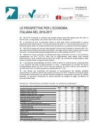 LE PROSPETTIVE PER L'ECONOMIA ITALIANA NEL 2016-2017