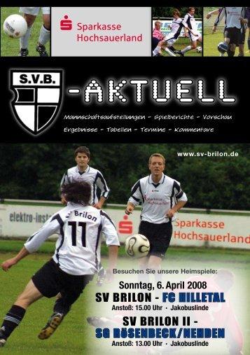 """9. Ausgabe 2007/2008 von """"SVB-aktuell"""" - SV 20 Brilon"""