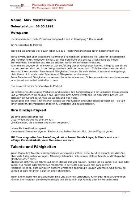 KOSTENLOSE Persönlichkeitsanalyse für Sie-06.05.1992