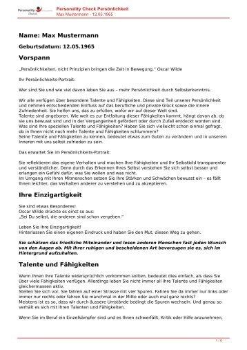 KOSTENLOSE Persönlichkeitsanalyse für Sie-12.05.1965