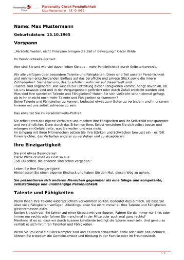 KOSTENLOSE Persönlichkeitsanalyse für Sie-15.10.1965