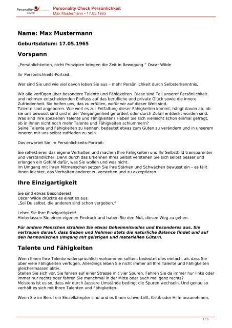 KOSTENLOSE Persönlichkeitsanalyse für Sie-17.05.1965