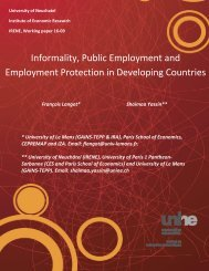 Informality Public Employment and Employment Protection in Developing Countries