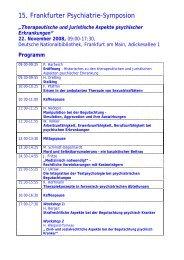 15. Frankfurter Psychiatrie-Symposion - Klinik Hohe Mark