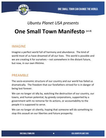 One Small Town Manifesto