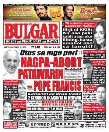 November 22, 2016 BULGAR: BOSES NG PINOY, MATA NG BAYAN