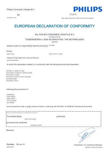 Philips Lumea Essential Épilateur à lumière intense pulsée - Déclaration de conformité - AEN