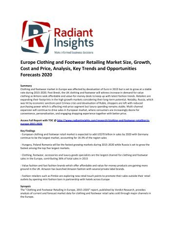 Europe Clothing and Footwear Retailing Market Size, Share, Growth, Analysis, Key Trends and Opportunities Forecasts 2020