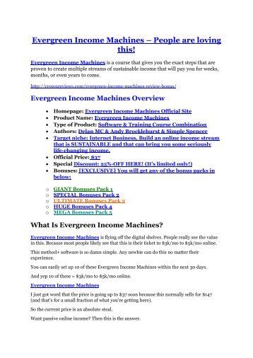 Evergreen Income Machines Review and (MASSIVE) $23,800 BONUSES