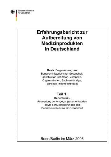 Erfahrungsbericht zur Aufbereitung von Medizinprodukten in ...