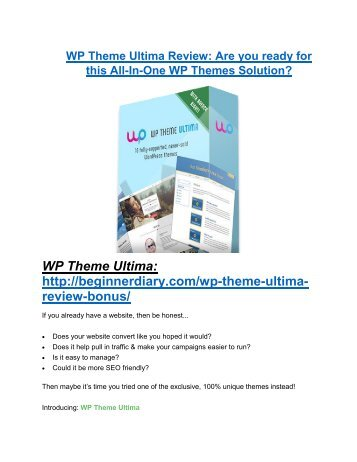 WP Theme Ultima review - WP Theme Ultima (MEGA) $23,800 bonuses
