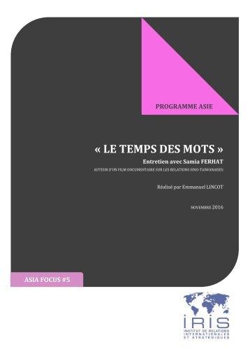 « LE TEMPS DES MOTS »