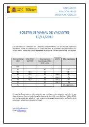 BOLETIN SEMANAL DE VACANTES 16/11/2016