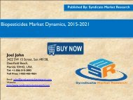 Biopesticides Market Dynamics, 2015-2021