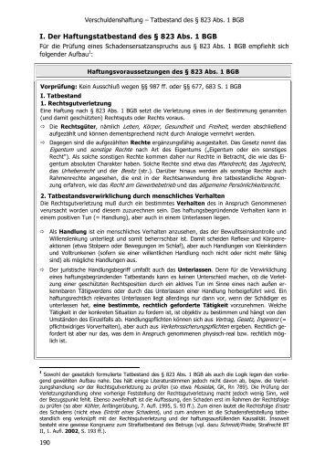 I. Der Haftungstatbestand des † 823 Abs. 1 BGB - Jurawelt