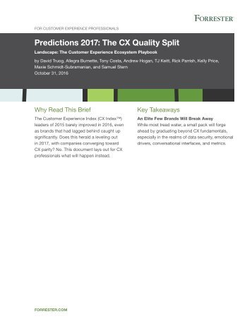 Predictions 2017 The CX Quality Split