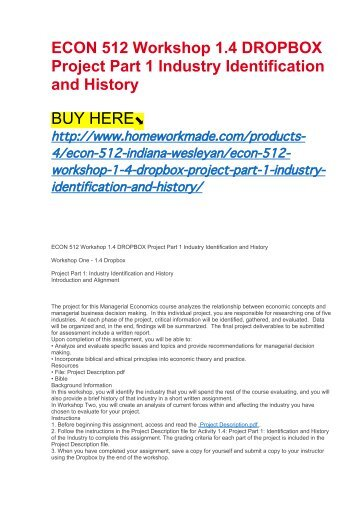 ECON 512 Workshop 1.4 DROPBOX Project Part 1 Industry Identification and History