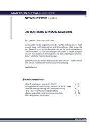 newsletter 1 - MARTENS & PRAHL Versicherungskontor