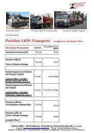 Preisliste LKW-Transporte zuzüglich der anfallenden Maut ...