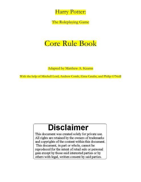 Harry Potter Rpg Core Rule Book