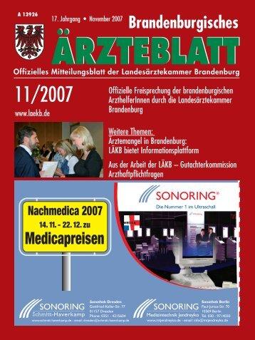 Brandenburgisches Ärzteblatt 11/2007 - Landesärztekammer ...