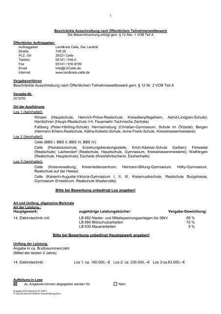 1250614 Ausschreibung - Landkreis Celle