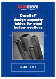 ONESTEEL duragal sections