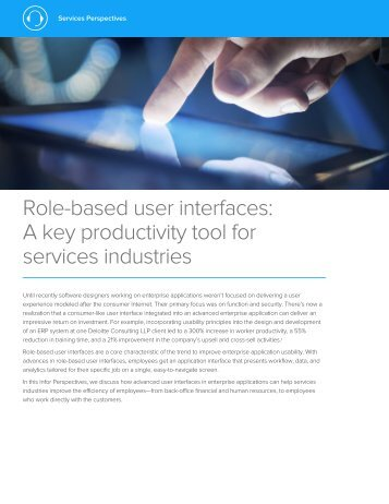 Role-based user interfaces A key productivity tool for services industries