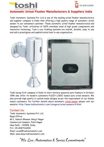 Automatic Urinal Flusher Suppliers India