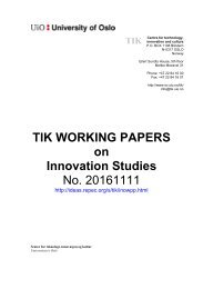 TIK WORKING PAPERS on Innovation Studies No 20161111
