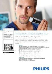 Philips Multigroom series 7000 Tondeuse visage et corps 10 en 1 - Fiche Produit - FRA