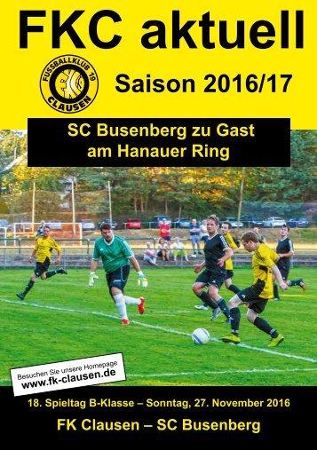 FKC Aktuell - 18. Spieltag - Saison 2016/2017