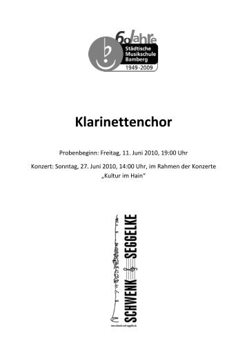 Liebe Klarinettenbegeisterte, - Schwenk & Seggelke