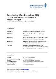 Bayerischer Musikschultag 2010 Pressespiegel - Verband ...