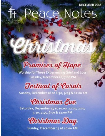 Peace Notes December 2016 - Word of Peace Lutheran Church
