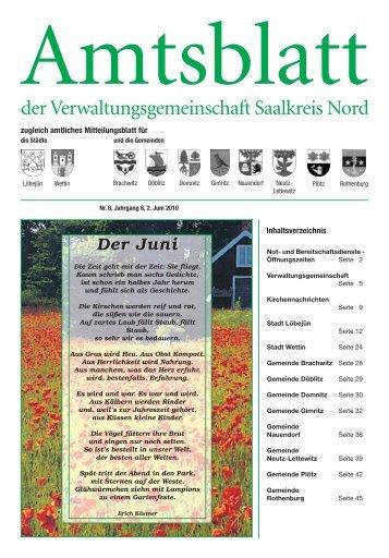 der Verwaltungsgemeinschaft Saalkreis Nord - Stadt Wettin-Löbejün