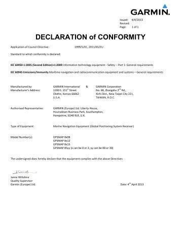 Garmin Declarations of Conformity - GPSMAP 8x08/8x12/8x15/85yy
