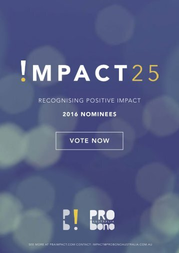 RECOGNISING POSITIVE IMPACT 2016 NOMINEES