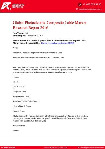 Photoelectric Composite Cable Market
