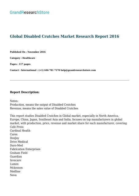 Global Disabled Crutches Market Research Report 2016