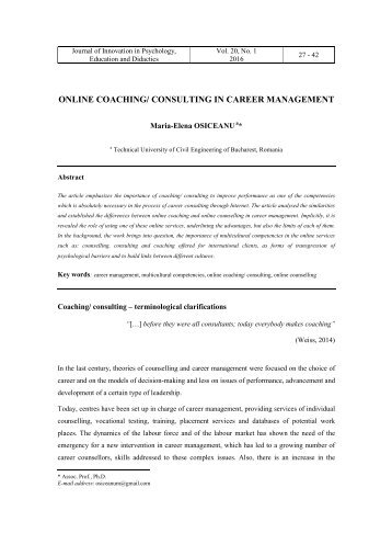 ONLINE COACHING/ CONSULTING IN CAREER MANAGEMENT