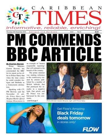 Caribbean Times 43rd Issue - Thursday 24th November 2016