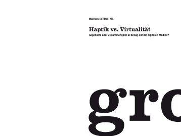 Haptik vs. Virtualität | PDF - gro
