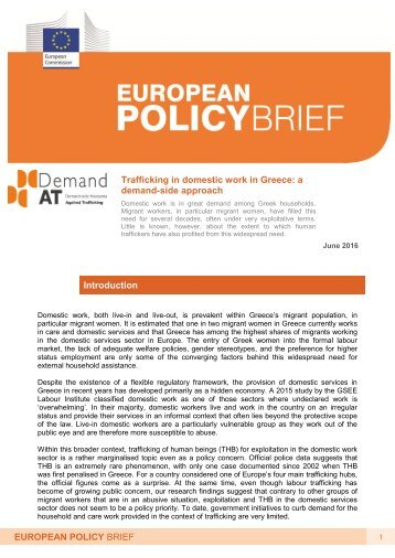 demand-side approach Introduction EUROPEAN POLICY BRIEF