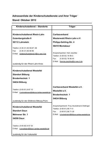 Adressliste der Kinderschutzdienste und ihrer Träger