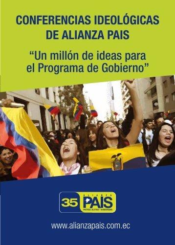 """DE ALIANZA PAIS """"Un millón de ideas para el Programa de Gobierno"""""""