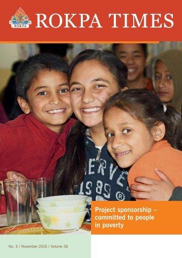 ROKPA Times November 2016 - Project sponsorships