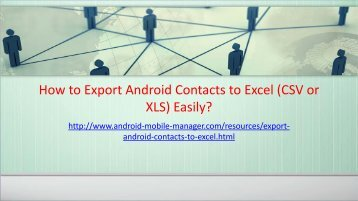 Save Android Phone Contacts as CSV or XLS Format