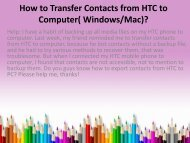 How to Transfer Contacts from HTC to Computer